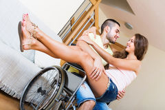 Sweet couple with disabled spouse Stock Photos