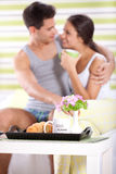 Sweet couple enjoying in morning Royalty Free Stock Images