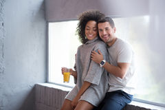 Sweet couple enjoying their love in embrace Royalty Free Stock Photography