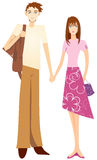 Sweet couple holding hand. Cartoon illustration of a lovely hand bond couple Royalty Free Stock Images
