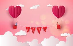 Sweet couple in a hot air balloon on honeymoon vacation summer h. Olidays romance. Love concept. Happy Valentine`s Day wallpaper, poster, card. Vector vector illustration