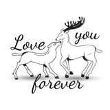 Sweet couple in love deer with lettering Stock Photography