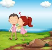 A sweet couple near the river Stock Photos