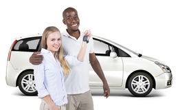 Sweet Couple With New 3D Car Royalty Free Stock Photo