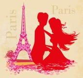 Sweet couple in Paris near the Eiffel tower vector illustration