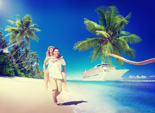 Sweet Couple Relax Summer Beach Concept Royalty Free Stock Photo