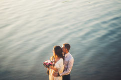 Sweet couple on the river royalty free stock photo