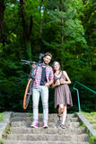 A sweet couple on stairs Royalty Free Stock Image