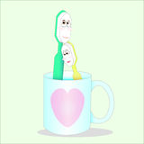 Sweet couple toothbrush. In lovely heart glass in valentine's day Stock Images