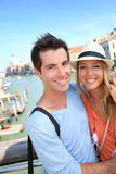 Sweet couple in Venice. Couple standing on the Academia Bridge in Venice, Italy royalty free stock images