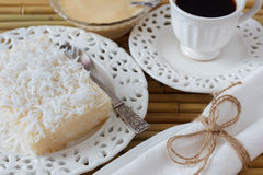 Sweet couscous pudding (cuscuz doce), coconut, condensed milk Stock Images