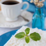 Sweet couscous (tapioca) pudding (cuscuz doce) with coconut Stock Image