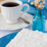 Sweet couscous (tapioca) pudding (cuscuz doce) with coconut Royalty Free Stock Photo