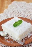 Sweet couscous (tapioca) pudding (cuscuz doce) with coconut Royalty Free Stock Photos