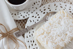 Sweet couscous (tapioca) pudding (cuscuz doce) coconut and coffee Royalty Free Stock Photos