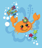 Sweet crab girl. Orange crab girl dancing and shaking her pincers underwater Stock Photography