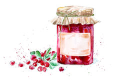 Sweet cranberry jam and berry. Watercolor hand drawn illustration Royalty Free Stock Photography