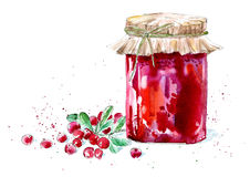 Sweet cranberry jam and berry. Watercolor hand drawn illustration Royalty Free Stock Images