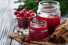 Sweet cranberry jam in jar Royalty Free Stock Photo