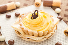 Sweet cream cake chocolate wafers candy Royalty Free Stock Image