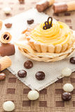 Sweet cream cake chocolate wafers candy Stock Photos