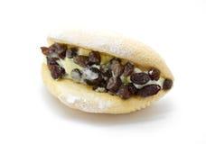 Sweet cream filled cake dessert with raisins Royalty Free Stock Image