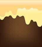 Sweet cream pouring on wafer abstract background vector illustra Stock Images