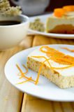 Sweet creamy pudding with cottage cheese and pumpkin souffle Royalty Free Stock Images