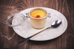Sweet creme brulee in jar Stock Photography