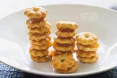 Sweet crispy pineapple biscuit with sugar in row Royalty Free Stock Photo
