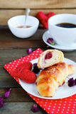 Sweet croissant and coffee for breakfast Royalty Free Stock Photo