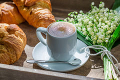 Sweet croissant and coffee Royalty Free Stock Images