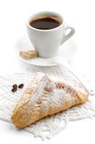 Sweet croissant and cup of coffee Stock Image