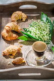 Sweet croissant and hot coffee Royalty Free Stock Image