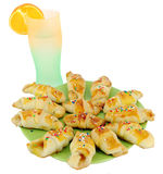 Sweet croissant and lemonade Stock Photography