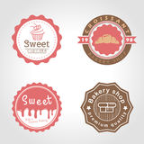 Sweet cupcake and bakery and milk shop circle logo vector illustration design stock illustration