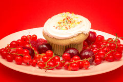 Sweet cupcake with berries and cherries Royalty Free Stock Photo