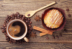 Sweet cupcake and coffee Royalty Free Stock Images