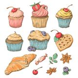 Sweet cupcake with cream. Set from vector cards Royalty Free Stock Image