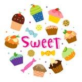 Sweet Cupcake Cut Cartoon Design Vector Royalty Free Stock Photo