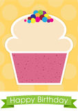 Sweet cupcake  happy birthday card Royalty Free Stock Photo