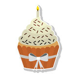 Sweet cupcake icon. Birthday cupcake dessert with candles icon over white background. colorful design. vector illustration Stock Photos
