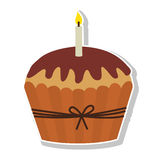 Sweet cupcake icon. Birthday cupcake dessert with candles icon over white background. colorful design. vector illustration Royalty Free Stock Images