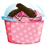 A sweet cupcake inside a sealed cup. Illustration of a sweet cupcake inside a sealed cup on a white background Stock Image