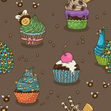 Sweet cupcake pattern Royalty Free Stock Photography