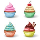 Sweet cupcake set. Sweet food chocolate creamy cupcake set isolated vector illustration Royalty Free Stock Image