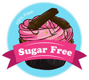 A sweet cupcake with a sugar free label Stock Images