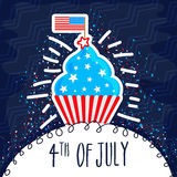Sweet cupcake for 4th of July celebration. Sweet Cupcake in American Flag colors on blue background, Elegant greeting card design for 4th of July, Independence Stock Photography