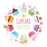 Sweet cupcakes background. Colorful illustration Royalty Free Stock Photography