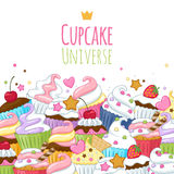 Sweet cupcakes background. Colorful illustration Stock Images